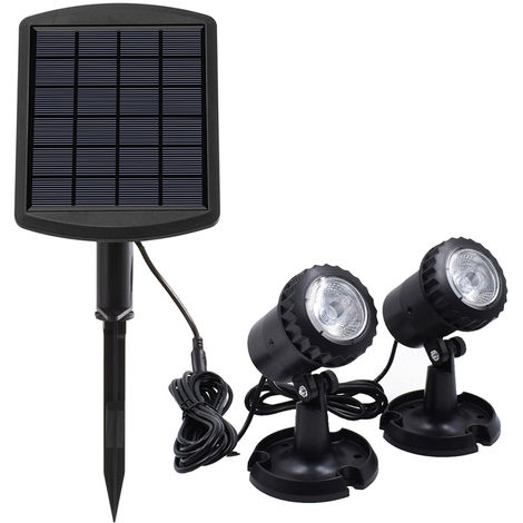 Solar Powered L-ED Submarinismo lampara Kit, control de luz, blanco