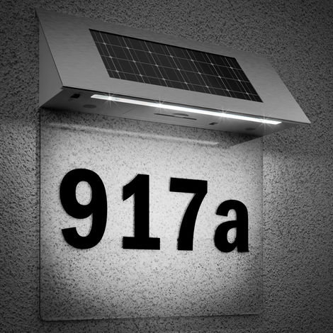 Solar Ed Led House Number Door Light Wall Letters Sign Lighting Stainless Steel Doorplate Outdoor