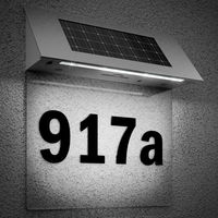 Solar Powered LED House Number Door Light Wall Number Letters Sign Lighting Stainless Steel Doorplate Outdoor