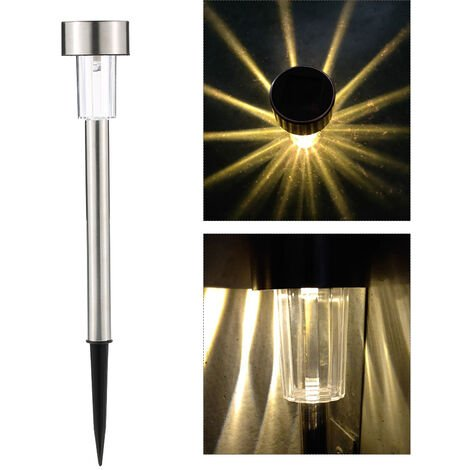 Solar Powered LED Lawn Light Stainless Steel Garden Landscape Lamp with Inserting Pole 1pcs warm white