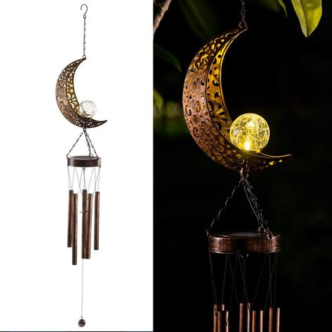 Solar Powered LED Windchime Outdoor Garden Solar Metal Metal Wind Chime Light Waterproof Hanging Mobile Lamp Windbell Light for Patio Deck Lawns Yard Home Party Festival Decoration