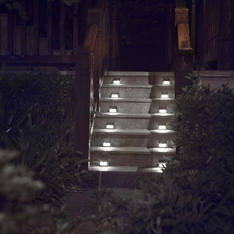 """main image of """"Solar Powered Lights for Deck Steps Stairs Fences Pathway Path, LED lamp, Outdoor Waterproof, White Light 6 Pack"""""""
