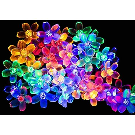 Solar Powered Outdoor String Lights with 50 Flower Shaped LEDs, 8 Light Modes, Color Changing - for Garden