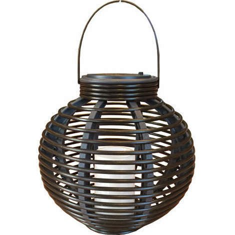 Solar Powered Rattan Effect Candle Lantern Light