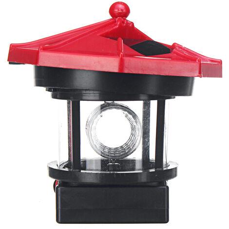 Solar Powered Resin LED Lighthouse Garden Lamp Rotating Garden Yard Lighting Outdoor Decor Glows 9x5x9.9cm Mohoo