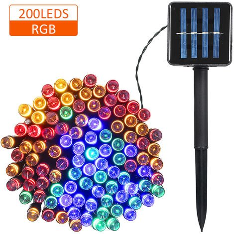 Solar Powered String Light 100/200 LEDs 2 Lighting Modes Christmas Lights IP65 Water-resistant Outdoor Hanging Fairy Lighting