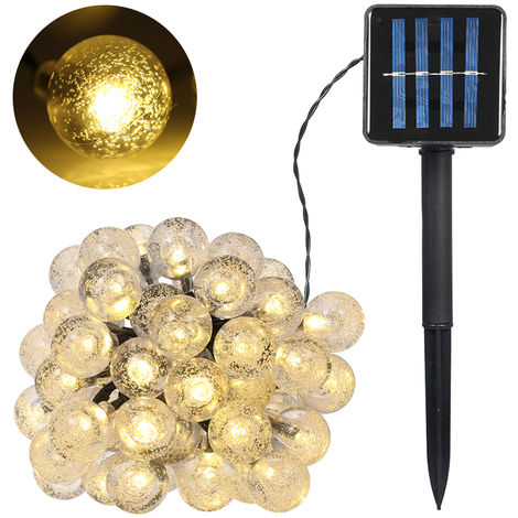 Solar Powered String Light 7m/22.97ft 50 Bulbs Crystal Ball Globe Lamp IP65 Water-resistant Outdoor Hanging Fairy Lights