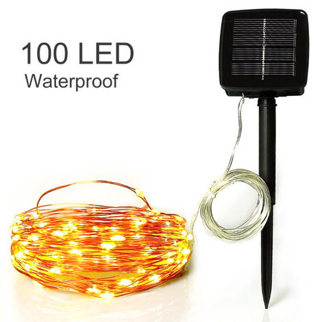 Solar Powered String Lights 100 LED Copper Wire Lights 32.8ft 8 Modes Waterproof Warm white