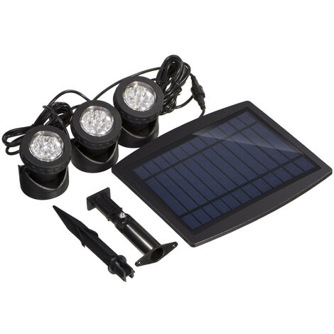 Solar Powered Super Bright 3 Submersible Lamps 18 LEDs - Projector Light Outdoor Lighting