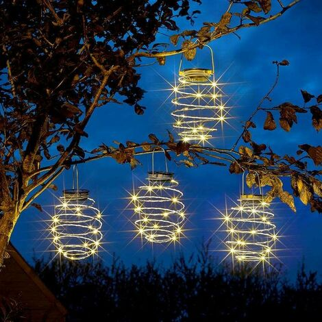 """main image of """"Solar Powered Warm White Copper LED Spiral Hanging Lights x 4"""""""