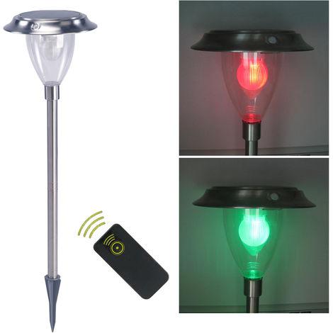 Solar remote control white light color changing garden ground light 1pcs