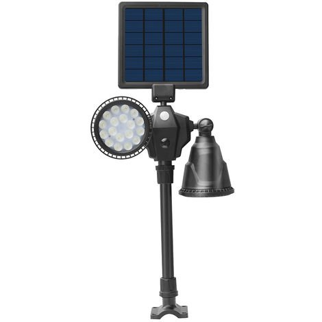 Solar Spot Lights Double Head 36 LED Solar Panel Lights 1000 Lumens Bright Spotlight Landscape Lamps Outdoor Waterproof Flood Lamp with Motion Sensor For Garden Wall