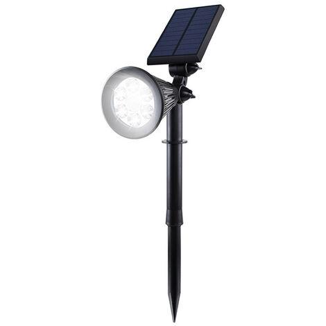 Solar Spotlight Jardin con sensor de movimiento impermeable al aire libre 6 LED 2-en-1 solares en-tierra del paisaje y Focos LED Lamparas de pared con el camino de angulo ajustable PIR que detecta paisaje claro, Negro, Luz Blanca