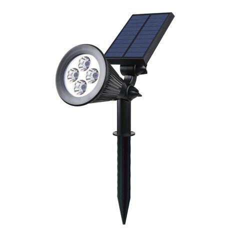 Solar Spotlight Jardin impermeable al aire libre 4 LED 2-en-1 solares en-tierra del paisaje y Focos LED Lamparas de pared ajustable con la trayectoria del paisaje angulo claro, Negro, Luz Blanca