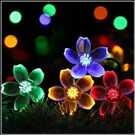 """main image of """"Solar Star Bubble Fairy Lights Led Cherry Blossom Lights Outdoor Garden Decoration Christmas Lights Solar String Lights Colorful Cherry Tree Lights 6.5 Meter 30 Lights 8 Functions"""""""