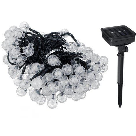Solar String 40 Ft 100 Led Black Waterproof Crystal Ball