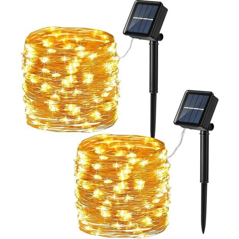 Solar String Lights, 2 Pack 39.37ft 100 LED Solar Fairy Lights, 8 Modes Outdoor Solar Fairy Lights String with Memory, Waterproof Solar Twinkle Lights for Christmas Garden Party, Warm White