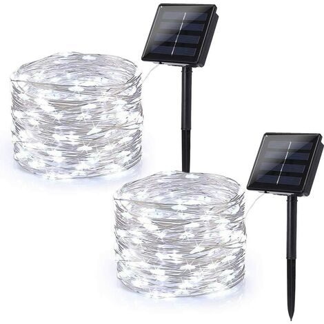Solar String Lights Outdoor, 2 Pack 65.6ft 200 LED Solar Fairy Lights Waterproof, Solar Copper Wire Twinkle Lights 8 Modes, Solar Christmas Lights Decorative for Garden Tree Party, Cool White