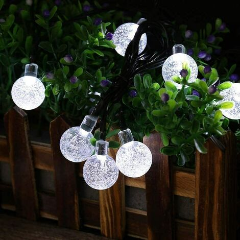 Solar String Lights Outdoor, 29.5 Feet 50 LED Globe Crystal Waterproof String Lights 8 Modes Decorative Lights for Garden, Patio, Wedding, Yard,Party (White)