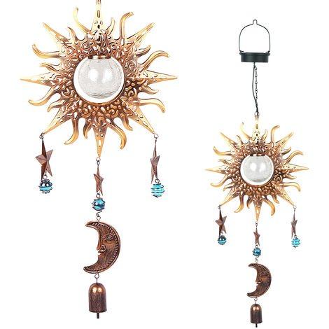 Solar Sun Moon Star Element Wind Chime Hanging Lamp Pendant Light IP44