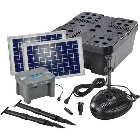 Solar Teichfilter Set 20/630 + Akku Solarpumpe Filter Gartenteich esotec 101073