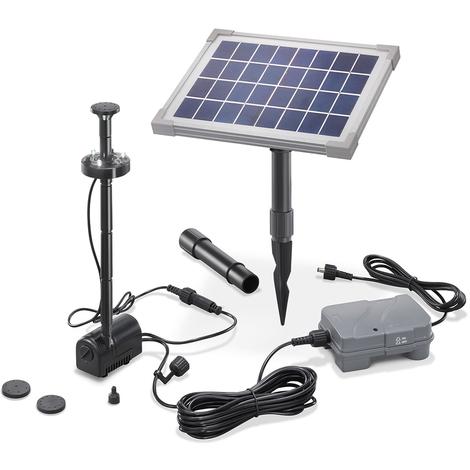 Super Solar Teichpumpe 5W mit Akku und LED Gartenteich Wasserspiel Teich #RA_96