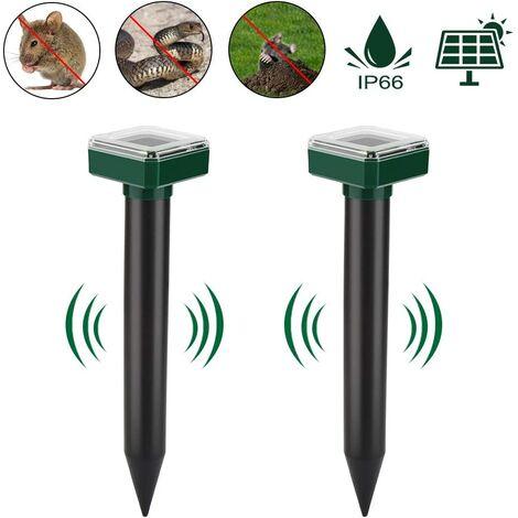 Solar Ultrasonic Animal Mole Repeller for Mole Control & Mole Control & Pest Control with IP56 for Garden 2 Pack