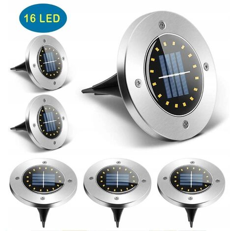 Solar Underground Lights, Garden Lights, Garden Lights, Decorative Lights 16LED White Light (6pcs)