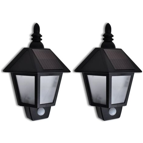 Solar Wall Lamp with Motion Sensor 2 pcs - Black