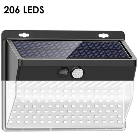 Solar Wall Light 206LEDs Human Body Induction Wall Lamp Outdoor Waterproof Courtyard Light