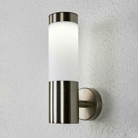 Solar Wall Light 'Aleeza' (modern) in Silver made of Stainless Steel (1 light source, A+) from Lindby | solar lamp, garden solar light
