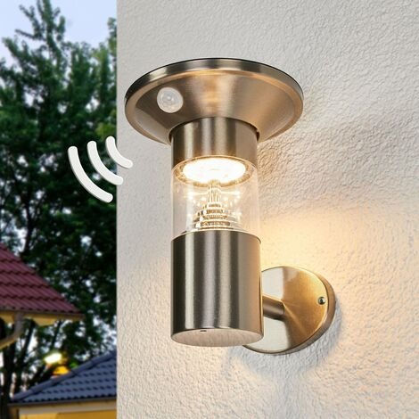 Solar Wall Light 'Jalisa' with motion detector (modern) in Silver made of Stainless Steel (1 light source, A+) from Lindby | solar lamp, garden solar light