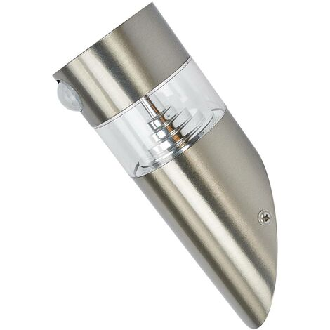 Solar Wall Light 'Kalypso' with motion detector (modern) in Silver made of Stainless Steel (1 light source, A+) from Lindby   solar lamp, garden solar light