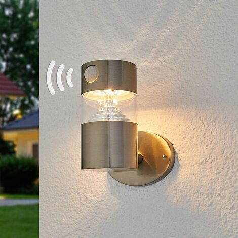 Solar Wall Light 'Kalypso' with motion detector (modern) in Silver made of Stainless Steel (1 light source, A+) from Lindby | solar lamp, garden solar light