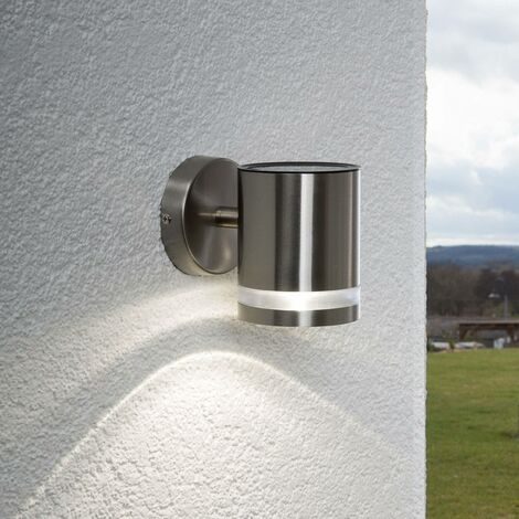 Solar Wall Light 'Salma' (modern) in Silver made of Stainless Steel (1 light source, A+) from Lindby | solar lamp, garden solar light