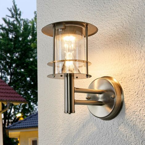 Solar Wall Light 'Sumaya' (modern) in Silver made of Stainless Steel (6 light sources, A+) from Lindby | solar lamp, garden solar light