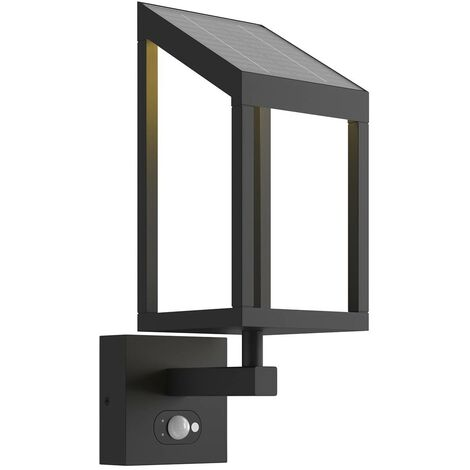 Solar Wall Light 'Timeo' with motion detector (modern) in Black made of Aluminium (1 light source, A) from Lucande | solar lamp, garden solar light