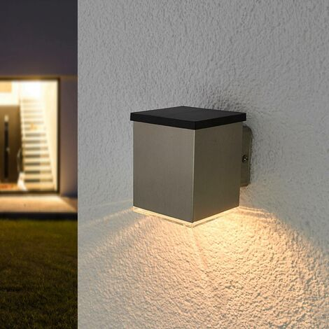 Solar Wall Light 'Tyson' (modern) in Silver made of Stainless Steel (1 light source, A+) from Lindby | solar lamp, garden solar light