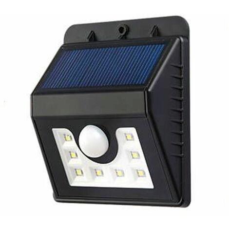 SOLAR WALL LIGHT WITH PIR, 8PCS 2835 LED, 1.6W 200 LUMENS, BLACK HOUSING, IP65, 6000K