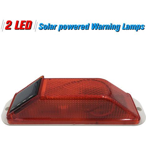Solar Warning Light Sensitive Strobe Flash Warning LED Caution Lamp Mounted Outdoor on Balusters of Driveways