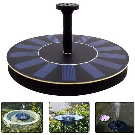 """main image of """"Solar Water Fountain Pump Floating Solar Panel with 4 Spray Heads for Different Water Flows, Perfect for Bird Bath, Small Pond and Fish Tank (1.4W) - Black"""""""