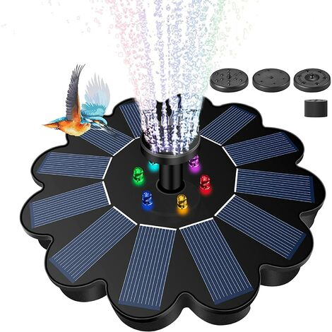"""main image of """"Solar water fountain pump for bird bath with LED lights, upgraded version 3W solar water fountain pump with spare battery and 5 nozzles, used for solar floating fountains in ponds, swimming pools, fish tanks, outdoor gardens"""""""