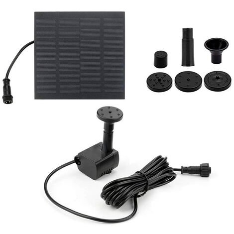 """main image of """"Solar Water Fountain Pump with 4 Nozzles 3 Meters Connecting Cable Outdoor Fountain for Bird Bath Pond Garden Swimming Pool,model:Black"""""""