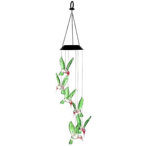 Solar Wind Chime Luz Patio Jardin Windbell lampara de la lampara del paisaje impermeable IP65 luz multicolor, transparente, transparente Hummingbird