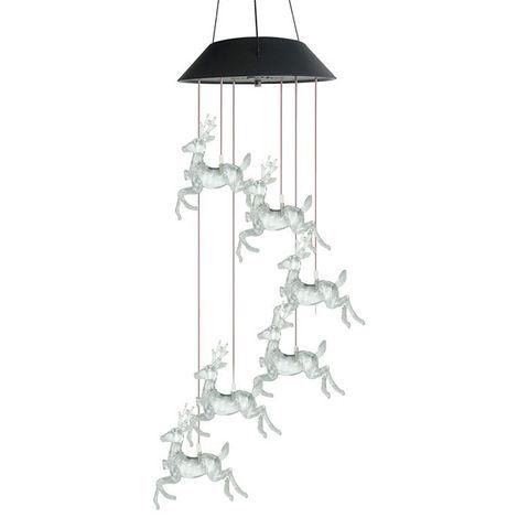 Solar Wind Chimes ciervos con cambio de color de luz LED solar al aire libre impermeable accionada Navidad de los ciervos Wind Chimes para el hogar Partido jardin de la noche Festival de decoracion, negro, # 2