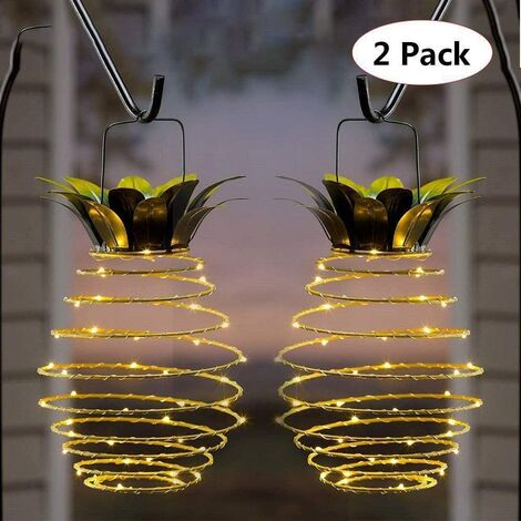 """main image of """"Solar Wrought Iron Pineapple Lamp Outdoor Court Decoration Landscape Copper Wire Lamp Copper Wire Waterproof Garden Waterproof Garden Decoration Lamp Suspended"""""""
