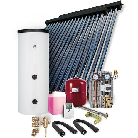 Solaranlage Paket HP30 9,78m² Vakuumröhrenkollektor Frischwasserspeicher 400l