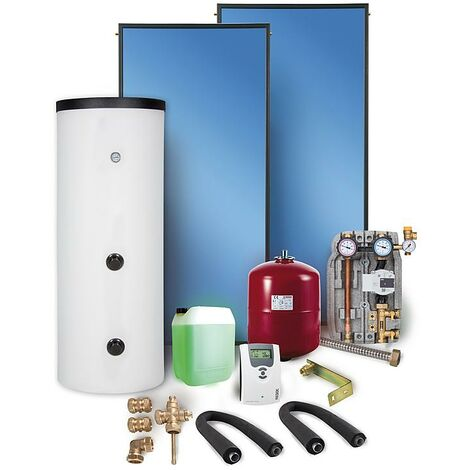 Solaranlage Paket Warmwasser Flachkollektoren 7,53m² Solarspeicher 400 l Solar