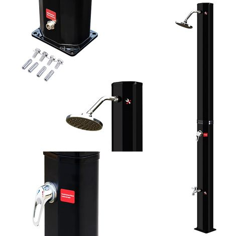 Solardusche 220 x 16,5 x 16,5 cm - Schwarz 35L Außendusche Campingdusche