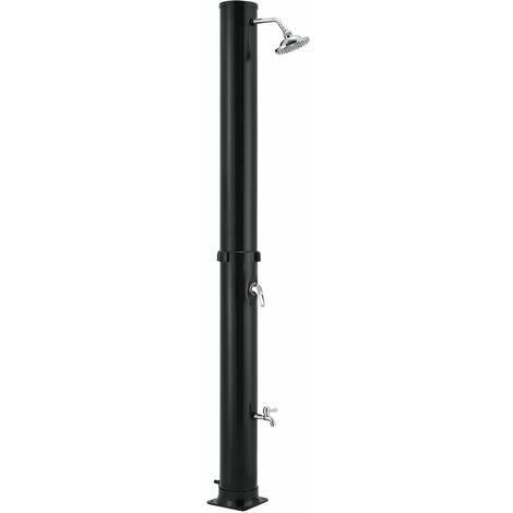 Solardusche Victoria 35 l – Gartendusche mit Regendusche und Thermostat – schwarz – Gartenschlauch Anbindung – justierbare Duschkopf-Halterung | Juskys